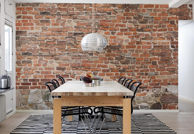 Designer tips add drama with realistic brick wallpaper - Papier peint imitation brique leroy merlin ...