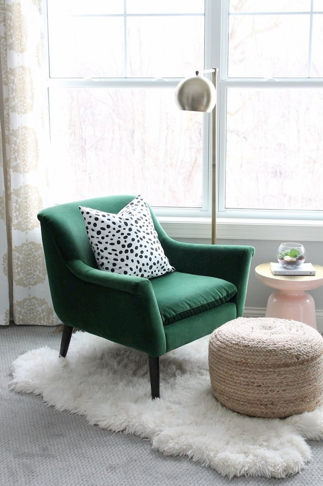 green chair for reading in bedroom