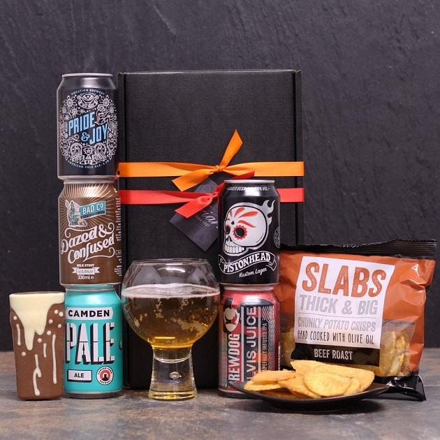 christmas beer gift with snacks