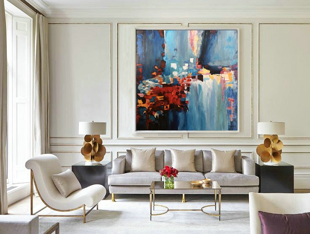 Abstract art poster in living space