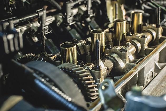 close-up of car engine parts