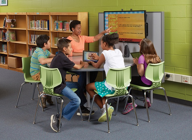 Students with teacher on collaborative table