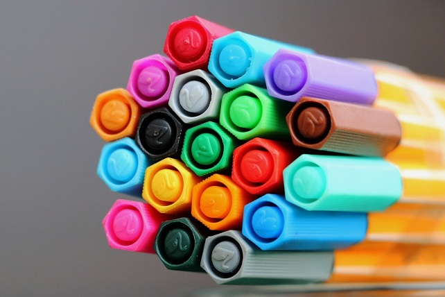 close-up of coloured pens