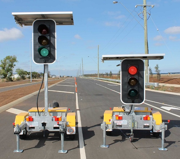 close-up of two portable traffic lights
